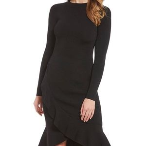 Gianni Bini Black Ruffled Mock Neck Sweater Dress